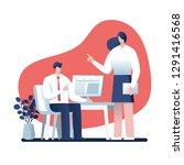 businessman and businesswoman... | Shutterstock .eps vector #1291416568