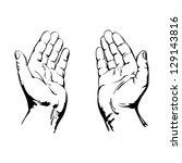 praying hands drawing vector...