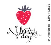 valentines day card. strawberry ... | Shutterstock .eps vector #1291442698