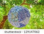 Silk flowers design in a garden. - stock photo