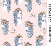 seamless childish pattern with... | Shutterstock .eps vector #1291492888