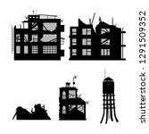 black silhouette of broken city ... | Shutterstock .eps vector #1291509352