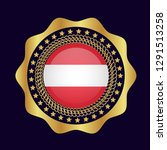 gold emblem with austria flag.... | Shutterstock .eps vector #1291513258