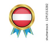 gold emblem with austria flag.... | Shutterstock .eps vector #1291513282