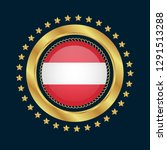 gold emblem with austria flag.... | Shutterstock .eps vector #1291513288