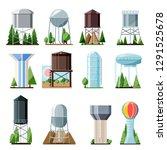 water tower vector tank storage ... | Shutterstock .eps vector #1291525678
