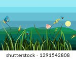 coastal landscape with bees and ... | Shutterstock .eps vector #1291542808