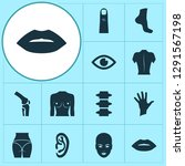 physique icons set with spine ... | Shutterstock .eps vector #1291567198