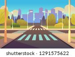 cartoon crosswalks. street road ... | Shutterstock .eps vector #1291575622