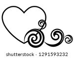 heart decorated with floral... | Shutterstock .eps vector #1291593232