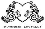 heart decorated with floral... | Shutterstock .eps vector #1291593235