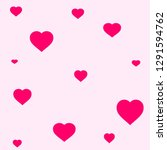 pink hearts on pink background  ...   Shutterstock . vector #1291594762