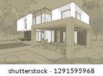 3d rendering sketch of modern... | Shutterstock . vector #1291595968