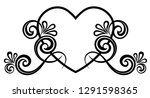 heart decorated with floral... | Shutterstock .eps vector #1291598365