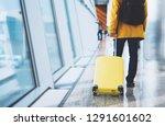 traveler tourist with yellow... | Shutterstock . vector #1291601602