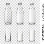 realistic transparent glasses... | Shutterstock .eps vector #1291603108