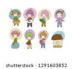 set with little cute gnomes.... | Shutterstock .eps vector #1291603852