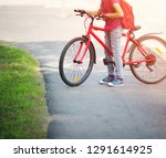 child with rucksack riding on... | Shutterstock . vector #1291614925
