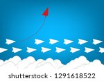 red airplane changing direction ... | Shutterstock .eps vector #1291618522