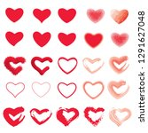 icon set of red heart .painted... | Shutterstock .eps vector #1291627048