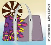 beach bag for women with... | Shutterstock .eps vector #1291633405