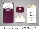 wedding invitation for laser... | Shutterstock .eps vector #1291637782