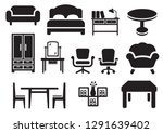 wooden furniture icons symols | Shutterstock .eps vector #1291639402