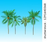 vector of palm tree icons on... | Shutterstock .eps vector #1291640368