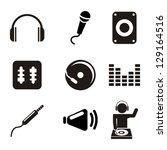 dj icons over white background. ... | Shutterstock .eps vector #129164516