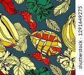 seamless pattern design  exotic ... | Shutterstock .eps vector #1291649275