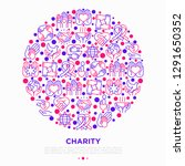 charity concept in circle with... | Shutterstock .eps vector #1291650352