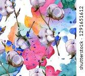 cotton floral botanical flower. ... | Shutterstock . vector #1291651612