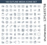 100 media icons. trendy media... | Shutterstock .eps vector #1291655758