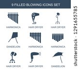 9 blowing icons. trendy blowing ... | Shutterstock .eps vector #1291655785