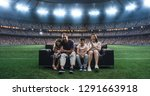 a family is watching a soccer... | Shutterstock . vector #1291663918