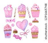 watercolor hand painted sweet...   Shutterstock . vector #1291665748