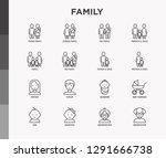 family thin line icons set ... | Shutterstock .eps vector #1291666738