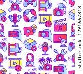 video blogging seamless pattern ... | Shutterstock .eps vector #1291667818
