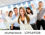 successful business team with... | Shutterstock . vector #129169538