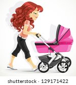 Cute Mother With A Pink Pram On ...