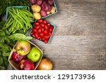 fresh farmers market fruit and... | Shutterstock . vector #129173936