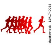 set of silhouettes. runners on... | Shutterstock .eps vector #1291740058