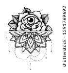 rose tattoo  mystic symbol.... | Shutterstock .eps vector #1291769692