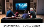 group of fans are watching a... | Shutterstock . vector #1291793005