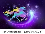 starlit sky and galloping... | Shutterstock .eps vector #1291797175