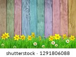 spring background with flowers... | Shutterstock . vector #1291806088