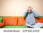 young or middle age sick man in ... | Shutterstock . vector #1291811425
