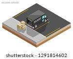 isometric delivery van. cargo...   Shutterstock .eps vector #1291814602