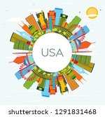 usa skyline with color...   Shutterstock .eps vector #1291831468