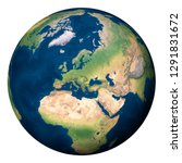 Planet Earth, Europe and part of Asia and Africa - Elements of this image furnished by NASA - stock photo